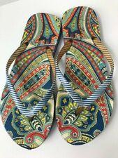 Vera Bradley Marina Paisley Flip Flops Blue & White Striped Women's Size Med 7-8