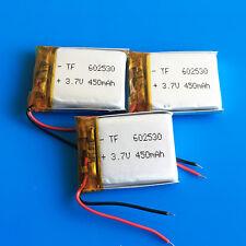 3 pcs 3.7v 450mAh Li Po Battery 602530  for MP3 DVD GPS Headphone Bluetooth MID