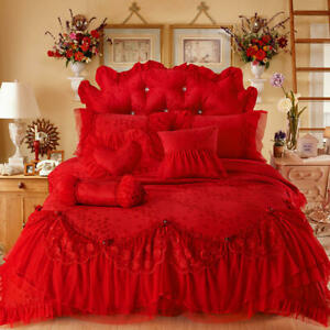 Luxury Wedding Bedding Set Lace Cotton Full Queen King Size Bedskirt Duvet Cover