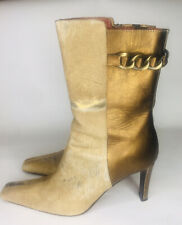 DONALD J PLINER 9.5N Brown Gold Metallic Leather w/ Chain Calf Height Zip Boots