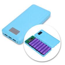7x18650 Battery Power Bank Shell Case Box 3-USB Ports LCD Display LED Flashlight