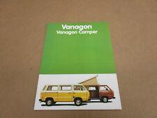 1981 81 Volkswagen VW Vanagon Camper Van sales brochure literature DLX 16 page