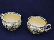 Deux superbes tasses à Chocolat en faïence jaune Creil (creil montereau) V.1825
