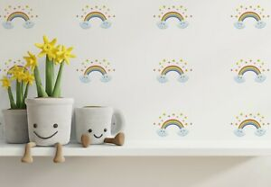 "Cute Rainbow Logo Wall Decor Stickers Pattern Art Decals 90 Pcs 3x3"" KA84"