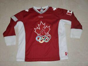 Sydney 2000 Olympics Team Canada Roots Hockey Jersey Red V-Neck Yth Sz 10