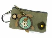 Chala Turtle Clutch Purse Canvas & Leather Coin Key Chain Fob
