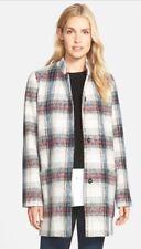 KENNETH COLE NEW YORK COAT Peacoat L Plaid WOOL WINTER Duffle Oversized
