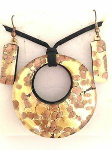 GOLD COPPER AUTHENTIC VENETIAN MURANO GLASS NECKLACE EARRINGS JEWELRY SET 17MG