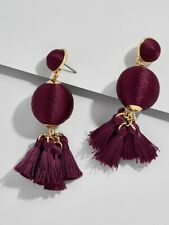 BAUBLEBAR SAMBA BALL DROPS Tassel Earrings Plum