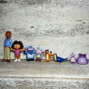 Vintage 8 Piece Dora the Explorer Small Action Figure Kid Toy Boots Swiper Tico