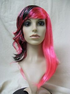 Funky Punked Out Black Hot Pink Wig Goth Rock EMO Split Personality Biker Chick