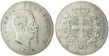 ITALIE  , VICTOR  EMMANUEL II  ,  5  LIRE  ARGENT  ,  1874  M  MILANO  MILAN