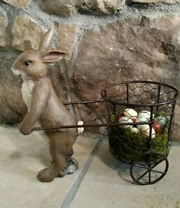 """NWT RAZ 10"""" Brown Bunny Rabbit with Wire Basket Egg Cart Easter Spring Decor Set"""