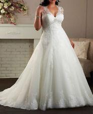 2015 Plus Size Wedding Dress White Ivory Bridal Gown Custom Size 18 20 22 24 26+