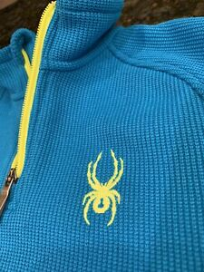 Spyder Youth Core Sweater Pullover Electric Blue Bryte Yellow Kids Small EUC