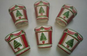 6 Yankee Candle Christmas Ceramic Votive Holders With Trees & Holly Red & Green