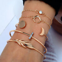 Wrist Bangle Boho Bracelet Band Women's Gold Chain Cuff Crystal 5Pcs/Set Jewelry