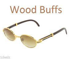 New Oval Wood Buffs Unisex Sunglasses Oval UV400 Lenses and Gold frame Baller