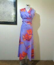 Vintage Custom Made Purple/Orange Tropic Print Poly Crop Wrap Top/Wrap Skirt Set
