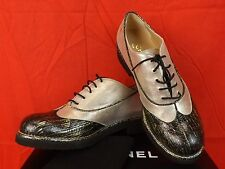 16c CHANEL Two Tone Black Leather CC Logo Lace up Oxfords 38