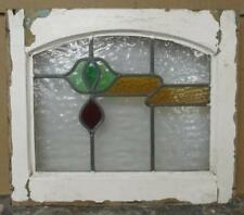 """OLD ENGLISH LEADED STAINED GLASS WINDOW Floral Abstract 18.5"""" x 16"""""""