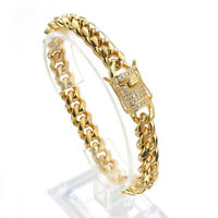 10mm Women Men's Miami Curb Cuban Chain Bracelet Stainless Steel Bangle 18K Gold
