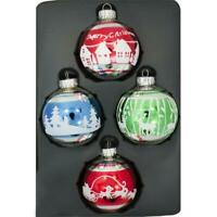 Reindeer, Winter Village and Christmas Trees Glass Ball Ornaments 2.5 Inches