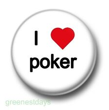 I Love / Heart Poker 1 Inch / 25mm Pin Button Badge Chips Casino Texas Hold 'Em