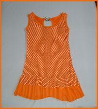 Free Size* Long Top Layer-Look TUNIKA Dots Volants BOHO Orange Lagenlook Slub