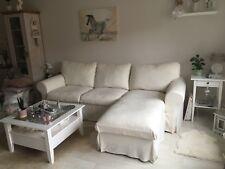 Ikea Ektorp Bezug 2er mit Recamiere creme weiß Leinen