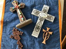 4 Cross Lot  Decor, 3 Hanging And 1 Standing Resin
