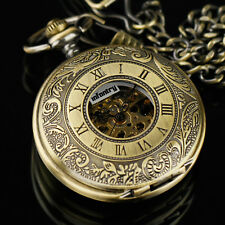 INFANTRY Mechanical Pocket Watch Skeleton Double Half Hunter Antique Design Gift