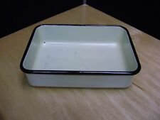 Vintage enamel ware pan white with black trim