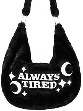 Restyle Always Tired Crescent Moon Black Furry Gothic Punk Hobo Sack Bag Purse
