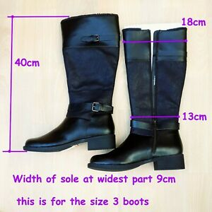 M&S Woman Winter Long Black calf boot Faux Leather fur lining Size 3 or 7