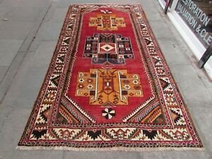 Vintage Hand Made Traditional Rug Oriental Wool Red Long Rug 292x153cm