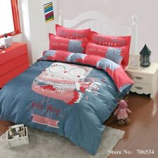 5pc. Hello There Owl Blue & Pink Queen Size Duvet Comforter Set 100% Cotton