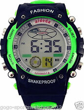 Green Digital Watch for Men Boys Sports Running Alarm Backlight Date Day WR 30M