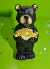 "5"" Black Bear w/ Fish Yard Statue Garden Figurine Flower Pot Stake #7"