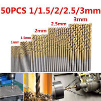 50Pcs Titanium Coated HSS High Speed Steel Drill Bit Set Tool 1/1.5/2/2.5/3mm