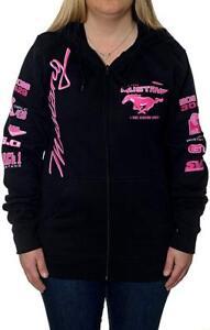 Women's Ford Mustang Zip Hoodie Sweatshirt Ladies Jacket with Pink Mustang Logos