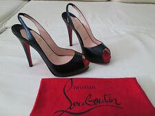 Christian Louboutin Very Prive 120 Black Leather Slingback Heels 36 6 5.5