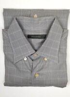 Men's Ermenegildo Zegna Camisa Dress Shirt Gray Plaid Cotton Size Large