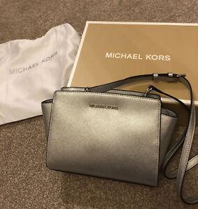 Michael Kors Ladies Silver Handbag Bag - Genuine - Brand New In Box