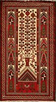 Tribal Balouch Afghan Oriental Hand-Knotted Area Rug Geometric Nomad Carpet 3x6