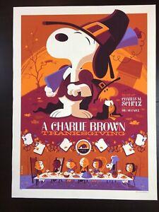 """CHARLIE BROWN THANKSGIVING"" WHALEN LIM EDN PEANUTS SNOOPY (VARIANT) PRINT $165!"