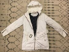 Athleta Long Hooded Quilted Puffer Coat Off White Size XXS Nice EUC! B4