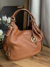 Michael Kors MK Bedford Belted Large Pebble Leather Shoulder Tote handbag acorn