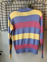 Fia Italia Hand Loomed Zip Front Striped Cardigan Sweater S Easter Spring Pastel