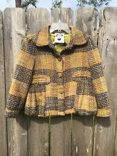 "NUVULA ""Wear Your Imagination"" Women's Yellow Plaid Lined Jacket Wool/Poly SZ S"